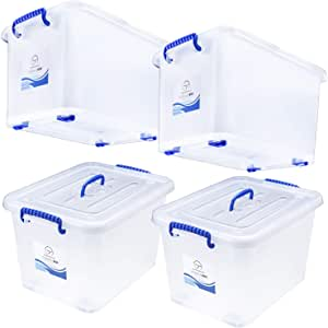 Storage Bins with Lids and Wheels - Great for Toys Shoes Tools Clothes Bed Laundry Closet Garage Office Organization - Plastic Stackable Large Tote Box Containers - Semi Clear White, 44 Quart Set of 4