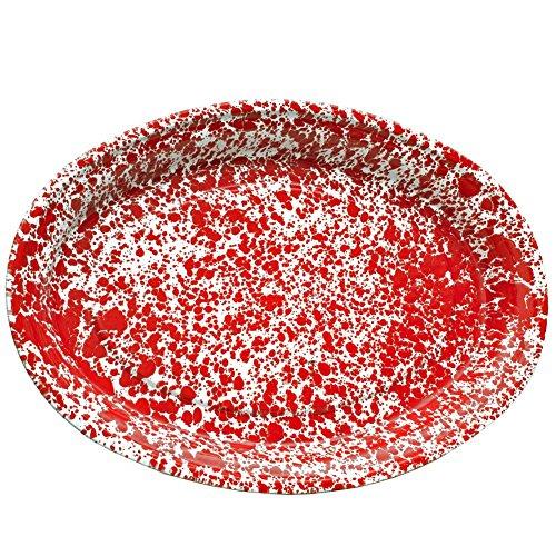 Enamelware Oval Serving Platter - Red (Marble Enamelware)