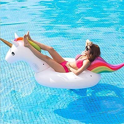 SanXingRui Unicornio Hinchable Flotante Gigante del Unicornio Piscina Cama Flotante Unicorn Kids, la Fiesta Piscina de Playa de Verano Adultos y Niños ...