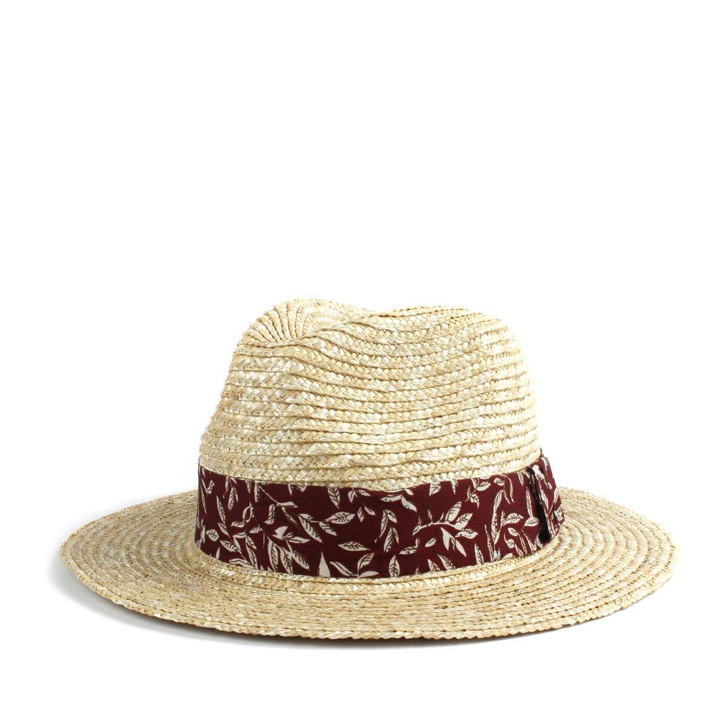 MUMUWU Sun Hat Women Straw Hat Beach Red Cloth Decoration Summer Visor Hat Vintage Panama Hat Cool Jazz Hat (Color : 1, Size : 56-58CM)