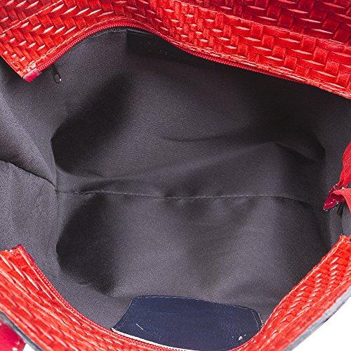 MADE auténtica Rojo FIRENZE mujer TOTE VERA cm ITALY Color cuero Bolso PELLE mujer ARTEGIANI ITALIANA 41x29x17 IN trenzado acabado de para hombro piel Bolso ROJO bolso Asa piel genuino fwrfUq