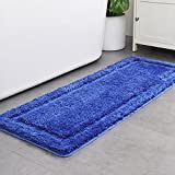 HAOCOO Shaggy Bathroom Rugs Runner, Bathroom Floor Mats Non-Slip,Water Absorbent, Machine-Washable, Soft Thick Plush Bath Rug for Doormats Tub Shower (18X47 inch, Navy Blue)