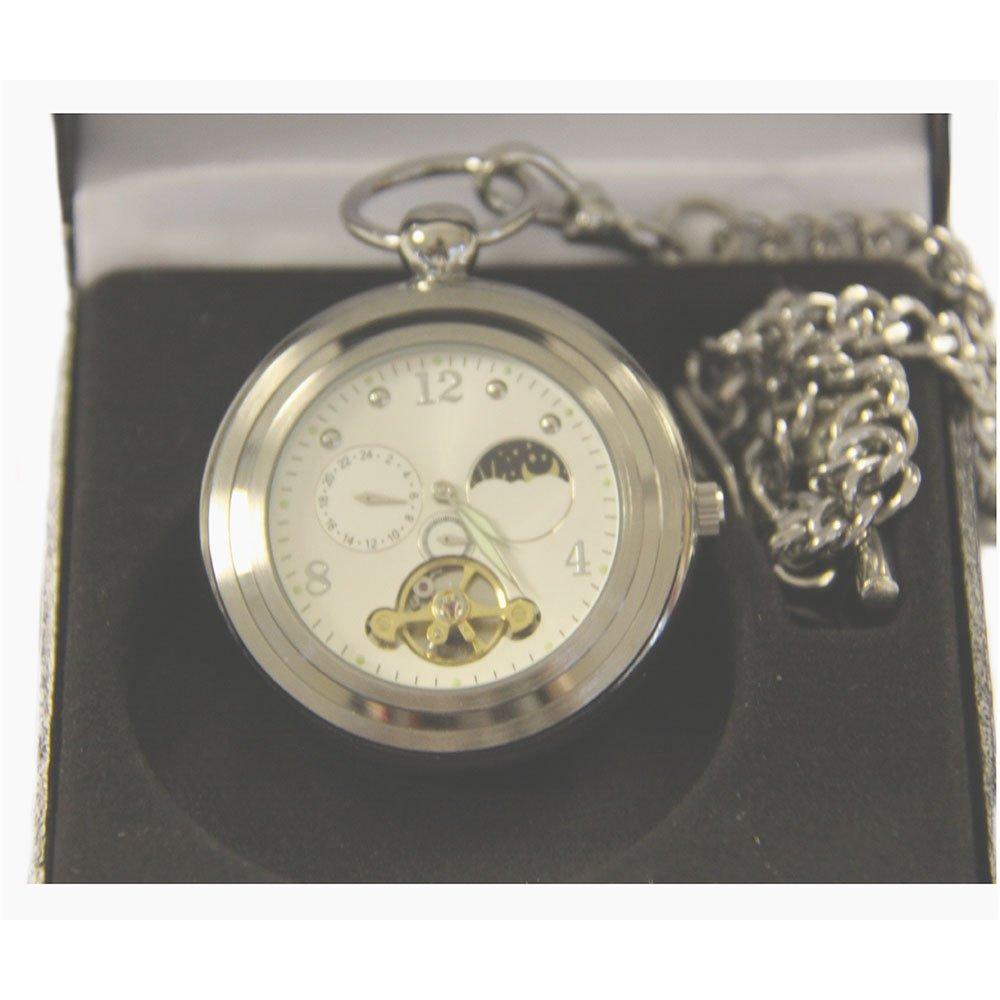 Silber Open Face Taschenuhr mit Sonne und Mond