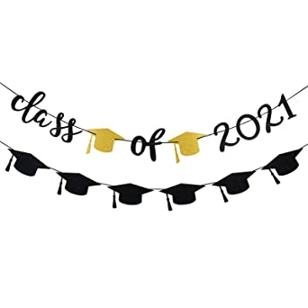 Car Graduation Decorations 2021 Happy Graduation Banner and Glitter Graduation Cap Garland Banner Graduation Decorations 2021 Black and Gold Graduation Party Supplies 2021
