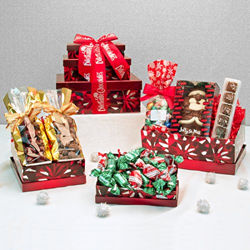 Chocolate Usa Gift Tower - Holiday Cheer Chocolate Gift Tower - Deluxe Assortment