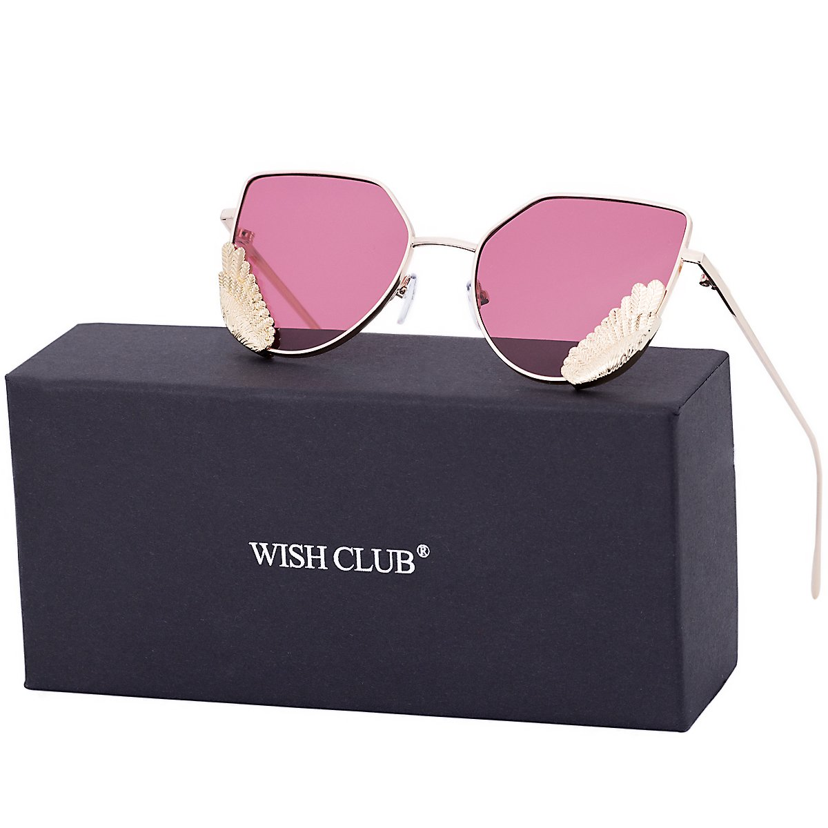 WISH CLUB Women Cat Eye Sunglasses Fashion Designer Transparent UV 400 Stylish Modern Party Glasses (Light Pink)