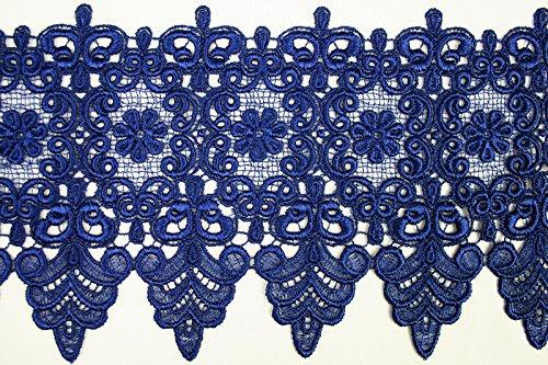 10 Colors Floral Embroidered Scalloped Venise Guipure Applique Lace Trim (Royal Blue)