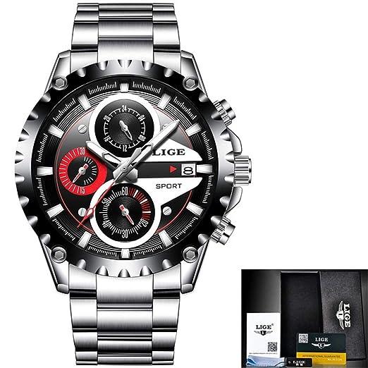 HWCOO LIGE Relojes mecánicos Reloj de Cuarzo de los Deportes de la Empresa a Prueba de Agua de Moda LIGE Hombres Casual Tendencia (Color : 1): Amazon.es: ...
