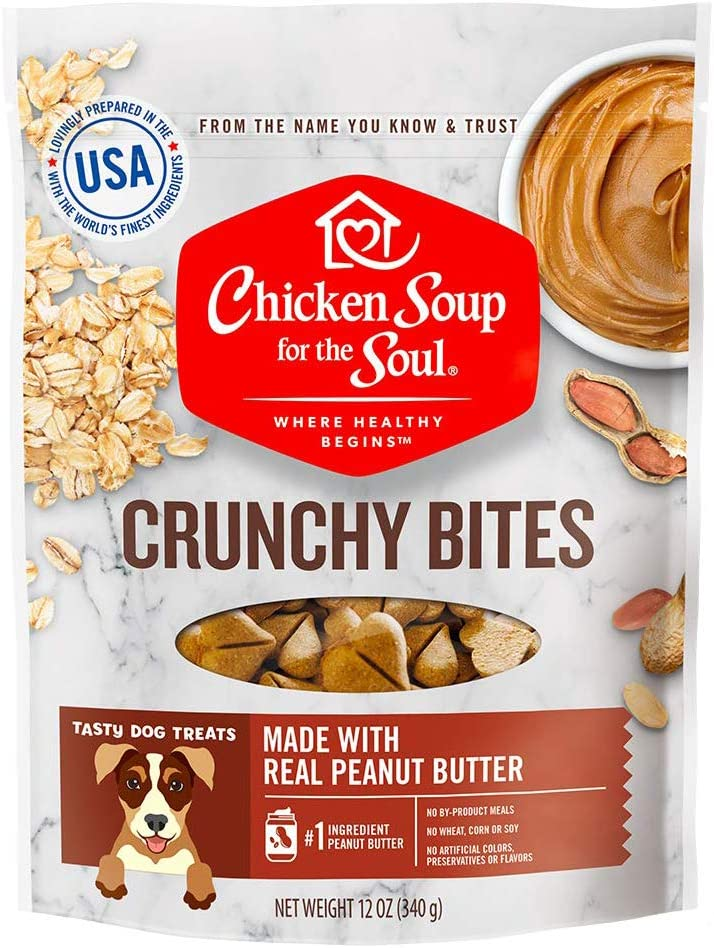 Chicken Soup for the Soul Pet Food - Crunchy Bites Dog Treats- Chicken, Peanut ButterSoy Free, Corn Free, Wheat Free   Dry Dog Food Made with Real Ingredients No Artificial Flavors or Preservatives