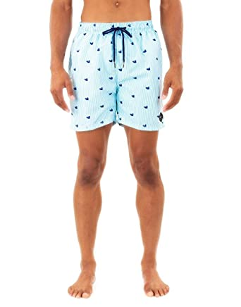 dc50fd0af3 Image Unavailable. Image not available for. Color: SPICY TUNA Light Blue  Duck Print Swim Trunk