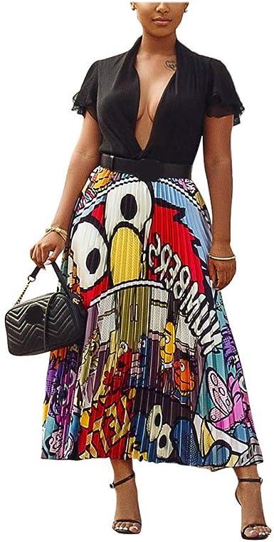 AIBBMIN Falda Plisada con Estampado de Dibujos Animados Multicolor ...