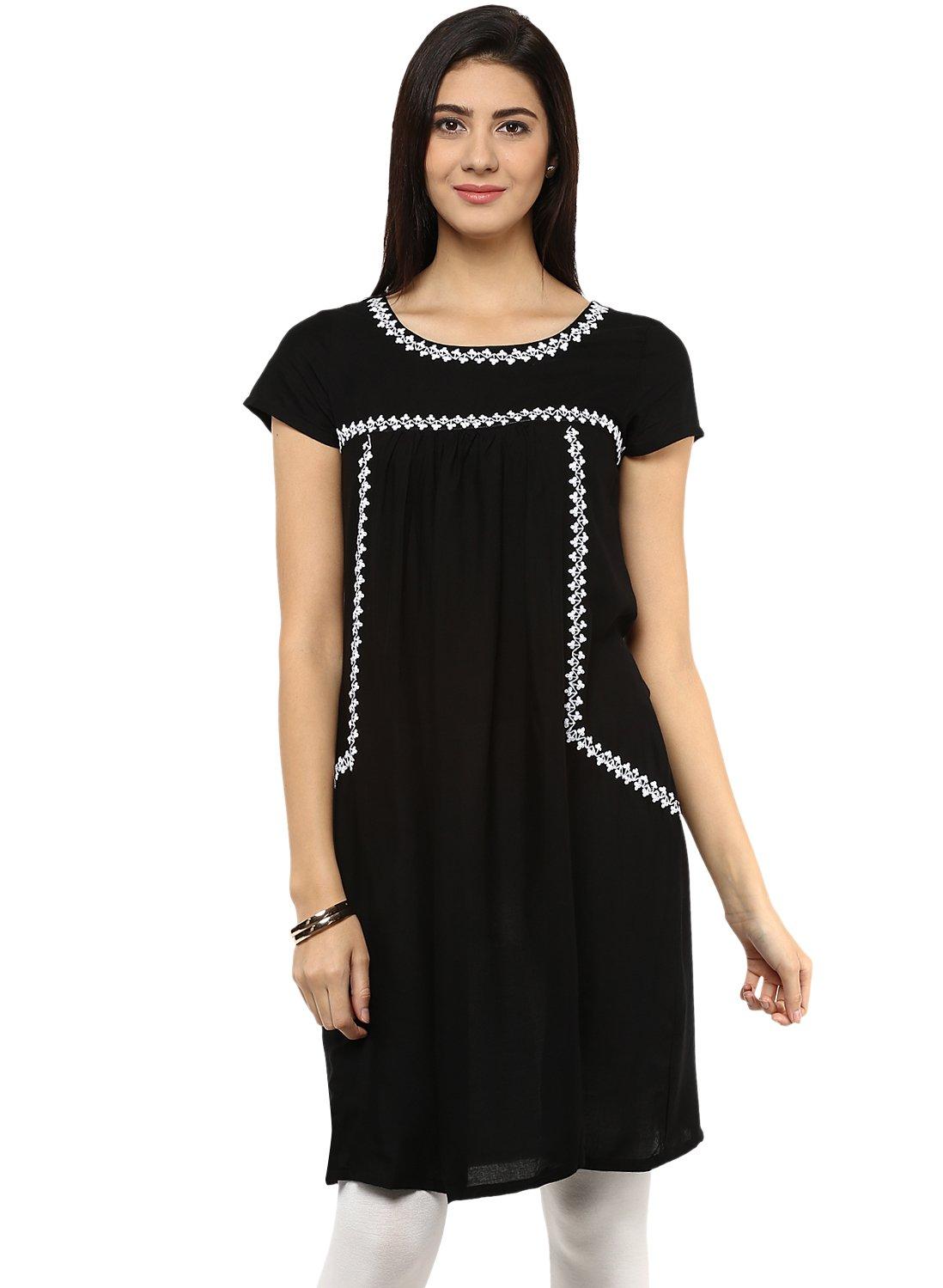 Avaana Black Embroidery Rayon Short Kurta