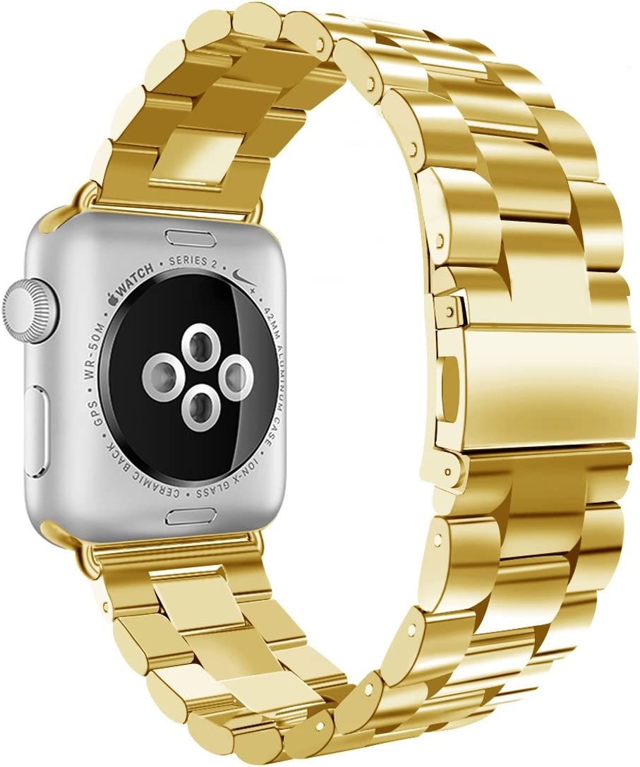 iiteeology Compatible with Apple Watch Band 38mm 40mm, Stainless Steel iWatch Band Replacement Strap for iWatch SE & Series 6 5 4 3 2 1 - Yellow Gold