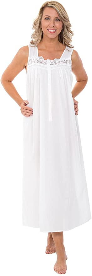 Victorian Lingerie – Underwear, Petticoat, Bloomers, Chemise Alexander Del Rossa Womens 100% Cotton Lawn Nightgown Sleeveless Sleep Dress $34.99 AT vintagedancer.com