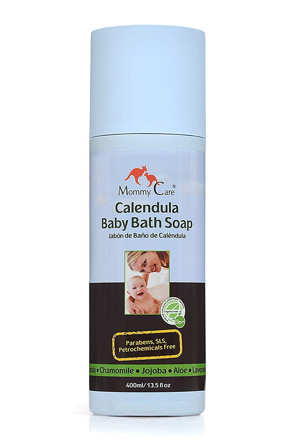 Baby Bath Soap Certified Organic [Mommy Care] Calendula Body Wash for Babies All Skin Types Great for Eczema and Dry Skin [SLS and Paraben Free] (13.52 fl.oz) by MOMMY CARE
