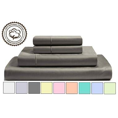 800 Thread Count 100% Cotton Sheet Set, Elephant Grey Queen Sheets, 4-Piece Long-Staple Pure Natural Best Cotton Bed Sheets For Bed, Soft & Silky Sateen Sheets Fits Mattress Upto 16'' Deep Pocket