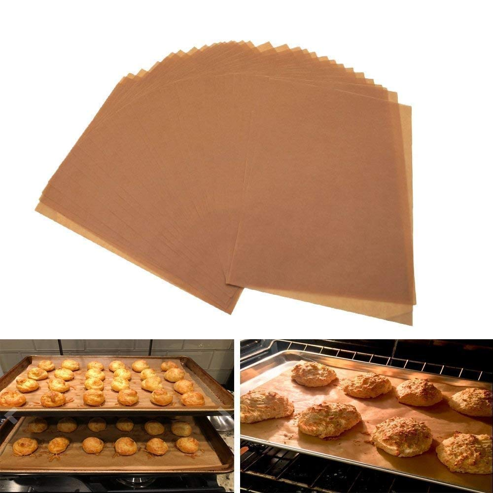 (Set of 100 )JUMBO size Parchment Paper Sheets, Brown Unbleached Eco-Friendly – 12x16 inches for half sheet pans/ Pan Liners Baking Sheets