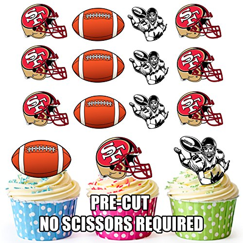 AKGifts American Football NFL Cupcake Toppers / Cake Decorations (Pack of 12) SAN FRANCISCO 49ERS (7 - 10 BUSINESS DAYS DELIVERY FROM UK)
