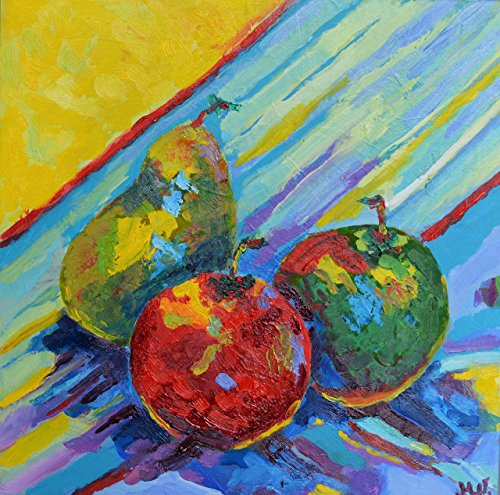 Funny kitchen art Kitchen artwork on canvas Pears fruits painting small art mini art for kitchen (Halloween Menu Items)