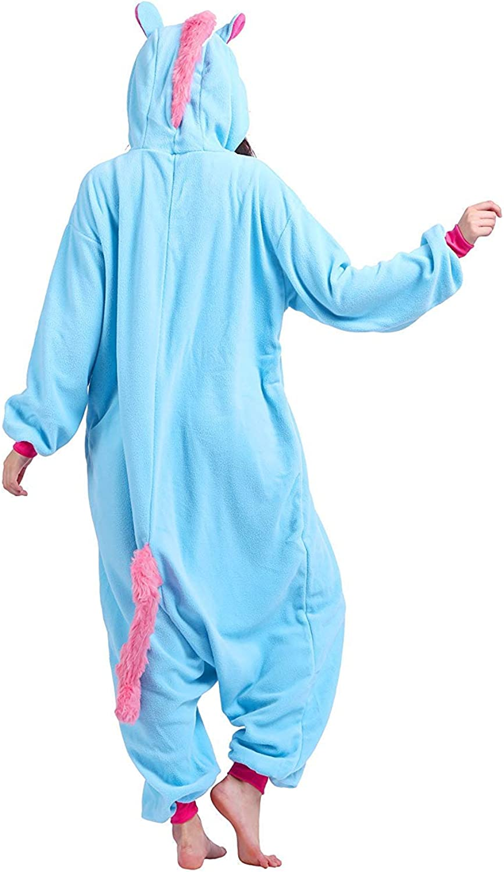 Einhorn Misandrie Pyjama Tieroutfit Tierkost/üme Schlafanzug Tier OneSize Sleepsuit mit Kapuze Erwachsene Unisex Jumpsuits Overall Damen Herren Pyjama Fleece