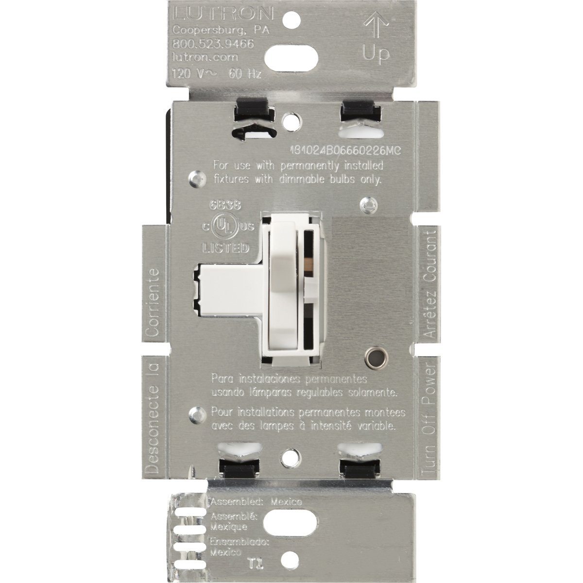 Lutron AYLV-600P-WH 600-Watt Toggler Low Voltage Single-Pole Dimmer, White