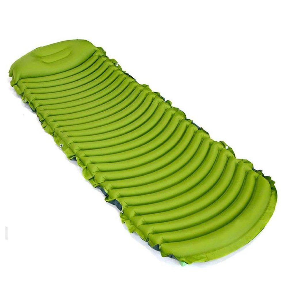 Inflatable Sleeping Mattress Outdoor-U-Typ-Umweltschutz Kapazitive Schlafunterlage Einzelgewichtsport Bergsteigen Auto Selbstfahrende Camping-Zelt Feuchtigkeit-Beweis-Matratze,Grün