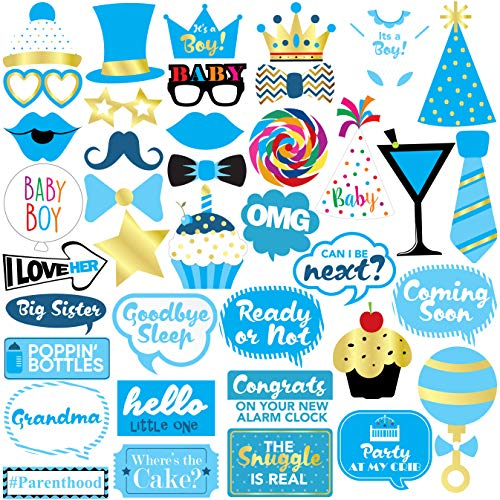 Baby Photo Booth Props (Baby Shower Boy Photo Booth Props - 40 Pieces - Baby Shower Decorations, Gifts, Favors and Supplies for Boy - Pregnancy Announcement - Gender Reveal)