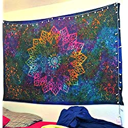 Twin Tie Dye Blue purple psychedelic Tapestry Hippie Tapestry Elephant Star Mandala Tapestry Tapestry Wall Hanging Boho Tapestry Bohemian Bedspread Beach Coverlet Curtain (Blue)