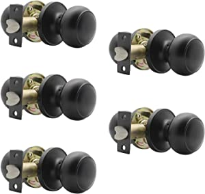 Probrico (5 Pack) Round Passage Door Knob(Non-Locking Knobs), Keyless Doorknobs Interior/Exterior Door Lockset,Passage Knobs for Hallway/Closet,Black Finish Modern Design Door Hardware