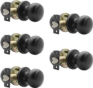 Probrico (5 Pack) Round Passage Door Knob(Non-Locking Knobs), Keyless Doorknobs Interior/Exterior Door Lockset,Passage Knobs for Hallway/Closet,Black Finish Modern Design Door Hardware