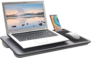 "Proglobe Lap Desk - for up to 17"" Laptop Desk, Bed Table or TV Tray with Built in Mouse Pad and Phone Stand for Notebook, MacBook, Computer, Table, Laptop Stand Accessories (Grey)"