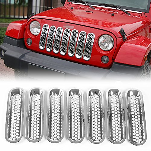 Bright Mesh Grill Mesh Grill Insert for Jeep Wrangler JK JKU Unlimited Rubicon Sahara X Off Road Sport Exterior Accessories Parts 2007-2016
