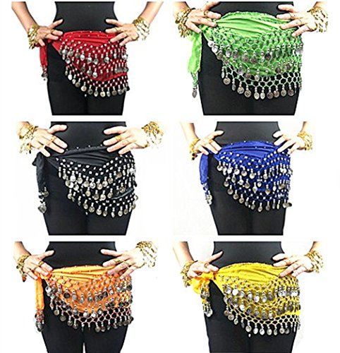 Indian Dance Team Costumes (Indian Dance Team Costumes 2018 Lady's' Belly Dance Hip Scarf Belt With Dangling Three Layers 128 Silver Coins(6 Colors/Set))