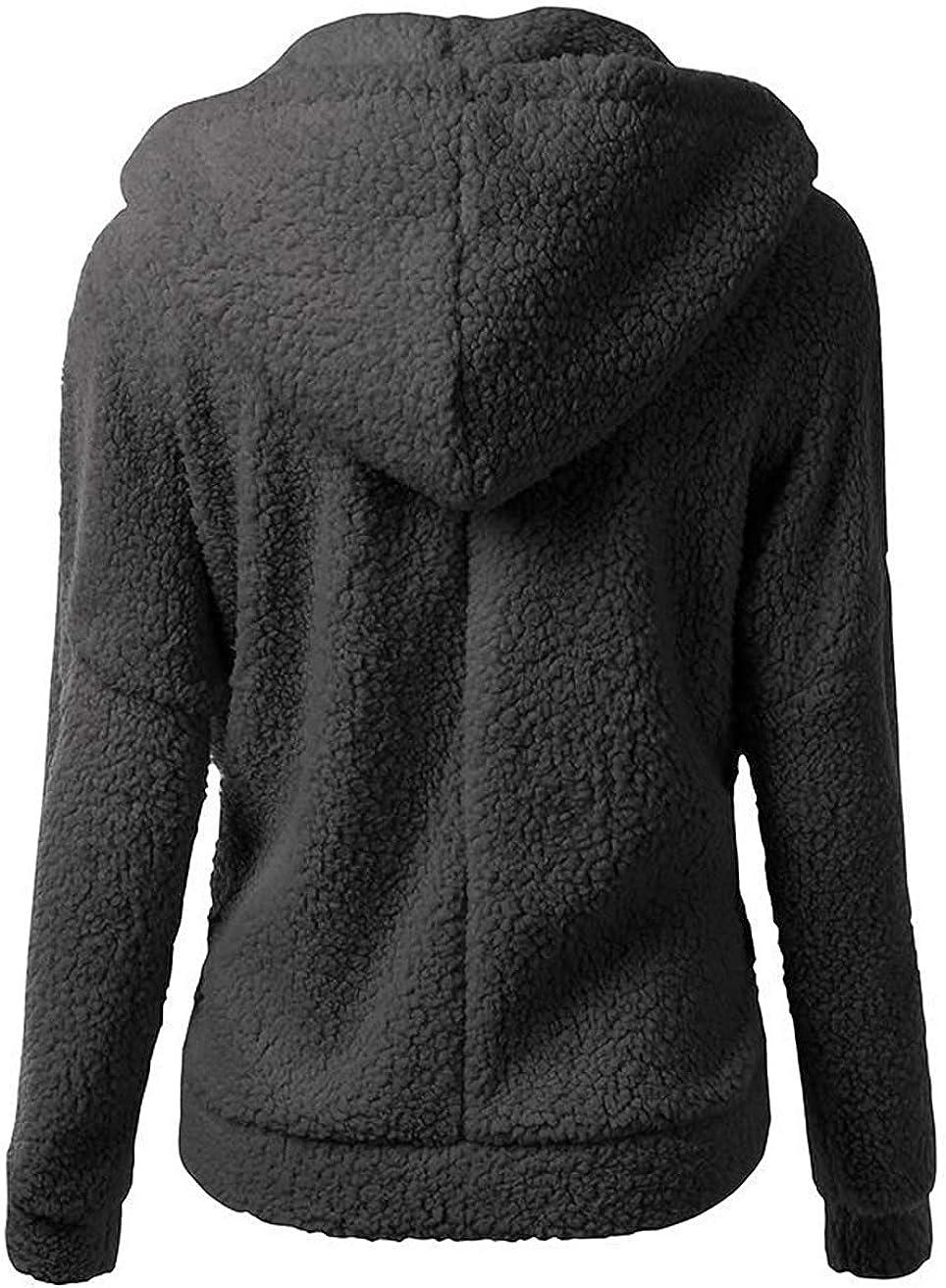 NREALY Womens Hooded Sweatshirt Coat Winter Warm Wool Zipper Pockets Cotton Coat Outwear