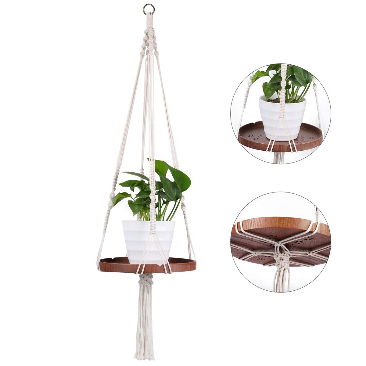 Macrame Plant Shelf Hanger, Indoor Modern Floating Hanging Planter Home Decorative Pot with 47 Cotton Rope Real Wood in Box