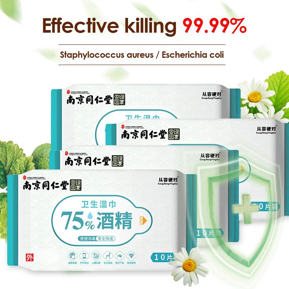 Toallita con alcohol de 3 toallitas desinfectantes para manos con f/órmula de alcohol Paquete individual gratuito Desechable para viajar 30 unidades
