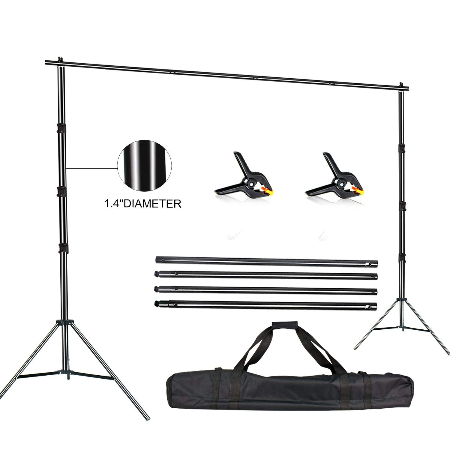 FUDESY Photo Video Studio 10 x 10Ft Heavy Duty Adjustable Backdrop Stand,Background Support System for Photography with Carry Bag,Two Pieces Spring Clamps by FUDESY