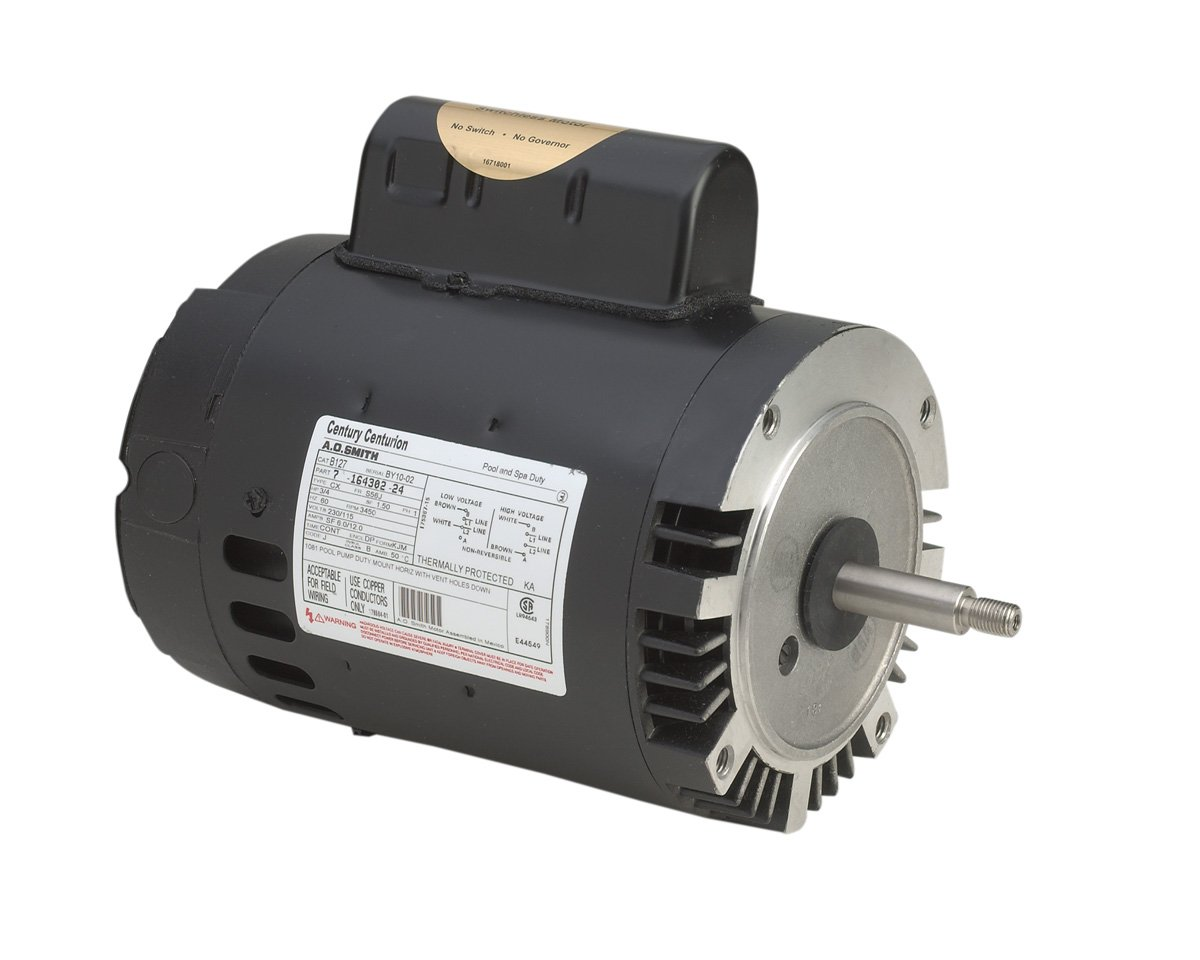 A.O. Smith B129 1-1/2 HP, 3450 RPM, 1 Speed, 230/115 Volts, 9.2/18.4 Amps, 1.3 Service Factor, 56J Frame, PSC, ODP Enclosure, C-Face Pool Motor