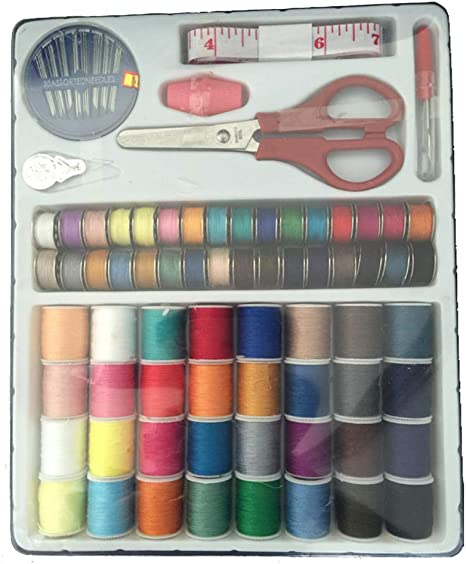 LARGE SEWING KIT SET 24 COTTON THREAD BUTTONS NEEDLES PINS THIMBLE SCISSORS TAPE