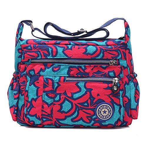 Travistar Waterproof Nylon Womens Shoulder Bag crossbody bags Ladies Messenger Bag Casual Handbag Redflower