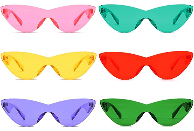 a0010dc6df4 Colorful One Piece Rimless Transparent Cat Eye Sunglasses for Women Tinted Candy  Color Eyewear (6 pack)  Amazon.co.uk  Clothing