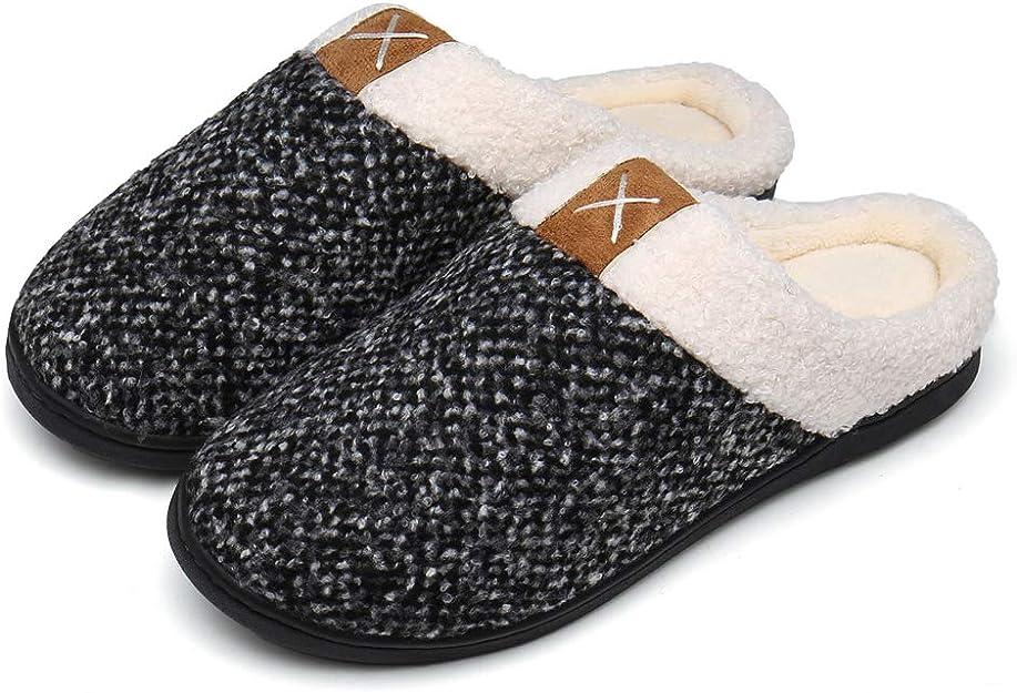 Damen Herren Hausschuhe aus Memory-Baumwolle Drinnen Pantoffeln im Herbst und Winter f/ür Drinnen und Draussen