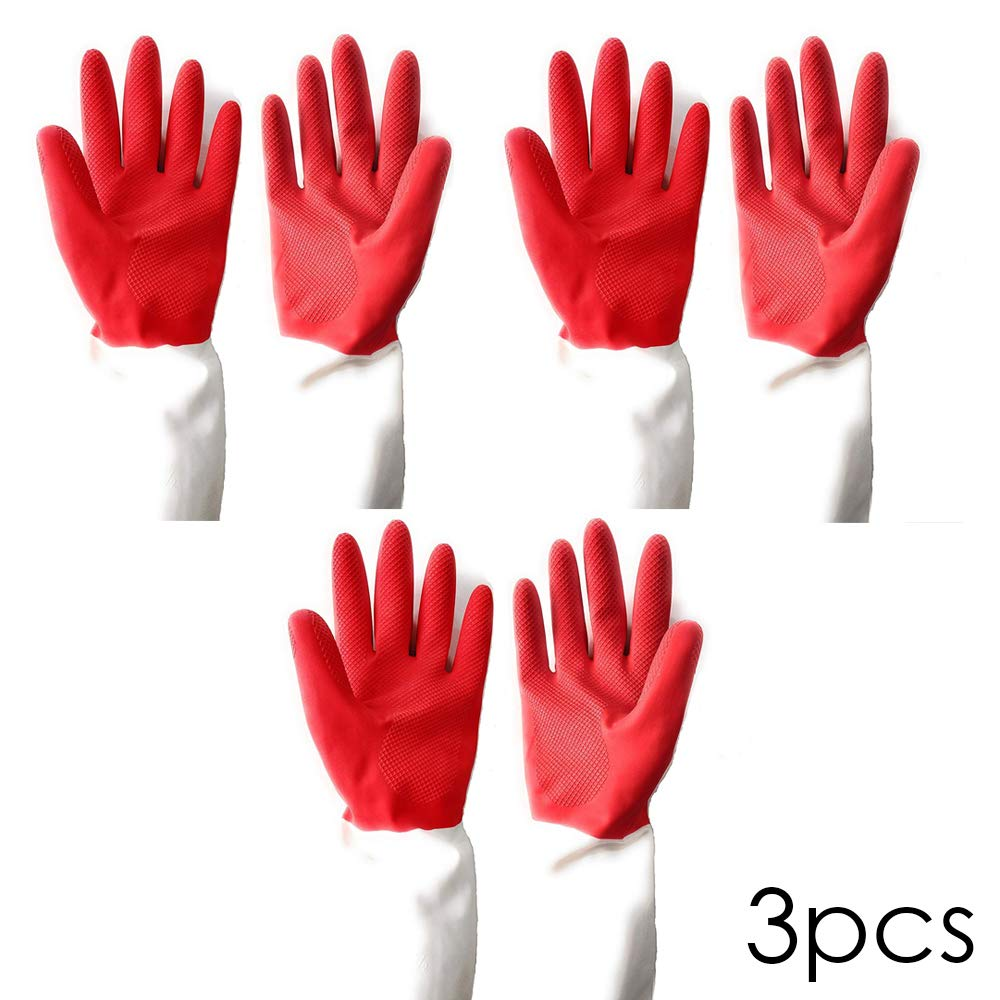 DeoDap Cleaning Gloves Reusable Rubber Hand Gloves, Dual Color (3 Pair) (B07X83J8CG) Amazon Price History, Amazon Price Tracker
