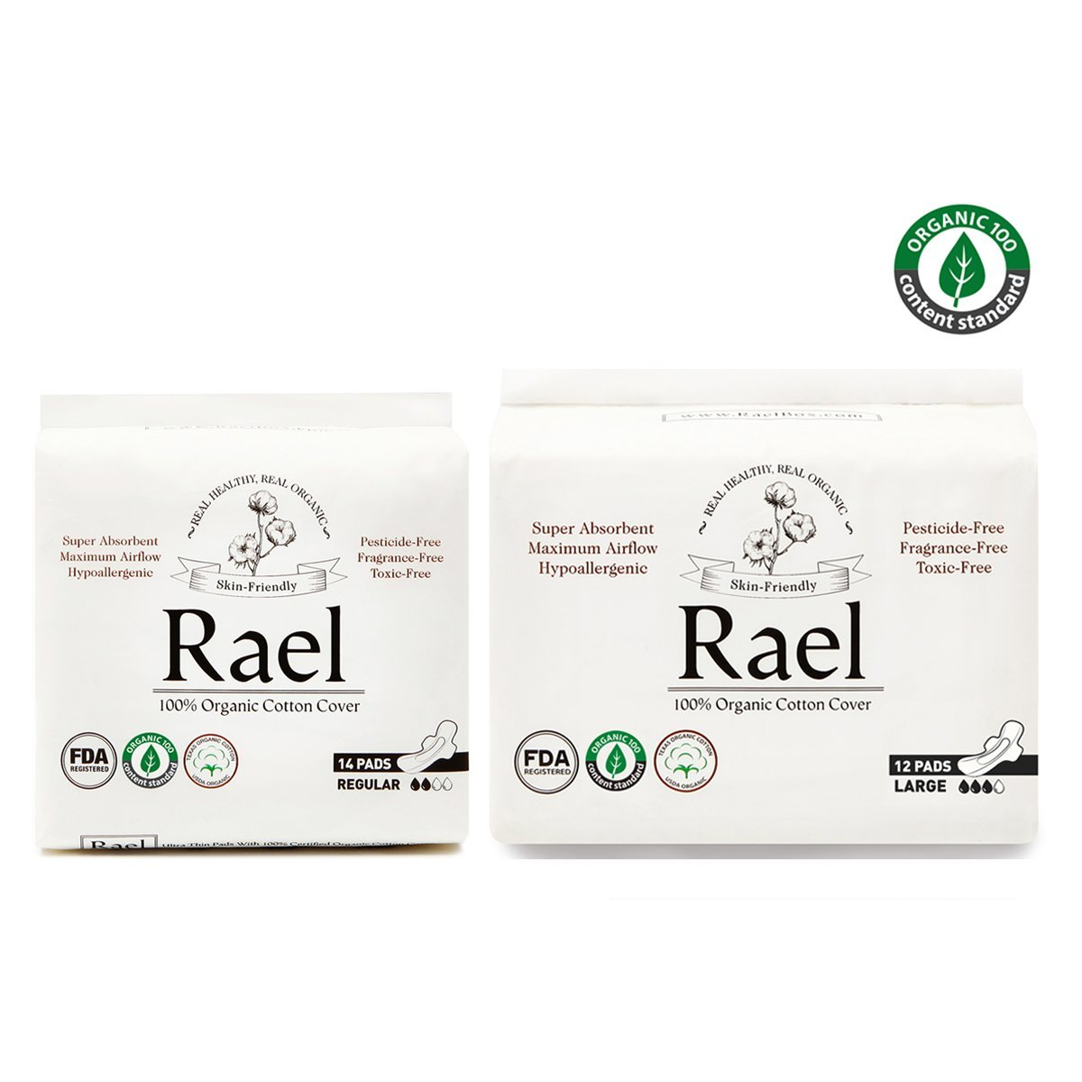 Rael Organic Cotton Sanitary Pads - Certified Organic Cotton Regular Pads 1 Pack and Large Pads 1 Pack by Rael Variety Pack(2 Packs/26 Total)
