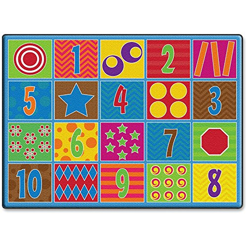 """Flagship Carpets Counting Fun 20-seat Rug - 99.96"""" Length x 72"""" Width - Multicolor"""