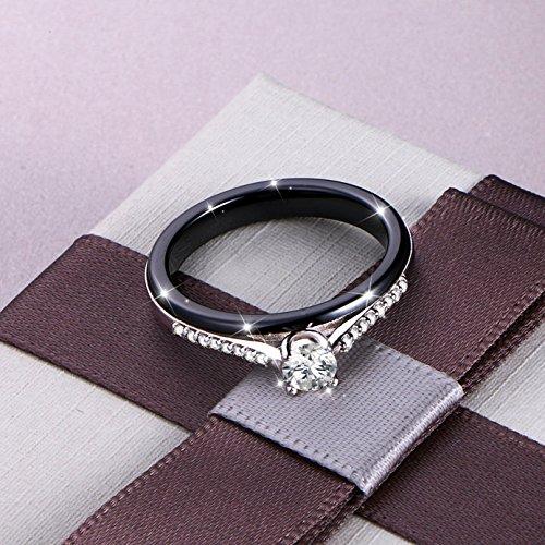 Buy silver black stone ring women