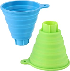 Large Collapsible Silicone Funnel for Marson Jars, 2Pack Foldable Canning Jar Funnel for Wide Regular Marson, Food Grade Jam Sauce Spice Funnel for Canning Transfer of Liquid Grains