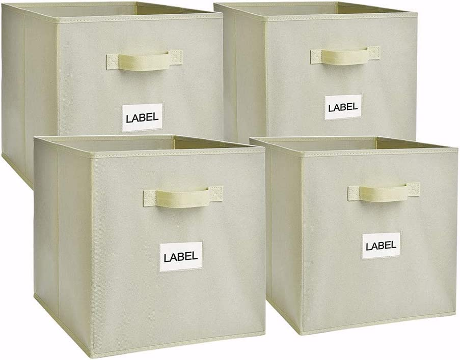 EAGLEFLY Large Foldable Cube Storage Bins, 13x13 Inch Collapsible Cloth Storage Boxes Containers Organizer Baskets with Dual Handle for Nursery,Office,Closet,Shelf - Set of 4 (Beige)