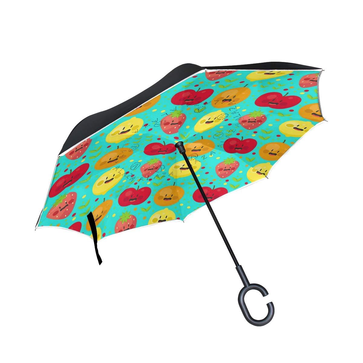 ALINLO inversé Parapluie coloré Fruits Motif Citron, Double Couche Envers Parapluie pour Voiture Pluie étanche d'extérieur avec poignée en Forme de C