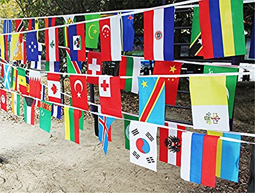 Racheljp World Flags Banner String International Classroom 200 National Country Flags Bunting Pennant Olympics Party Decorations